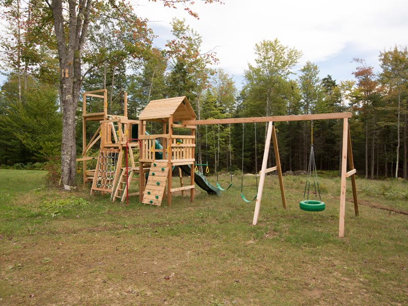 Custom Design Cedar Playsets with Zip Line launch tower