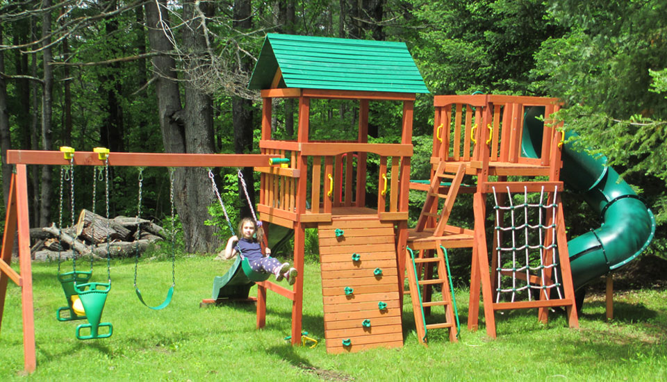 Cedar wood playset with swing set