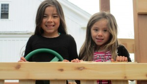 Kids having fun on playset